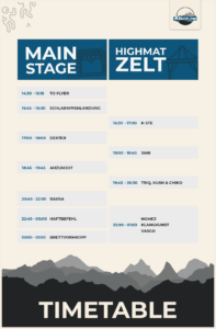 Highmatland Festival Timetable